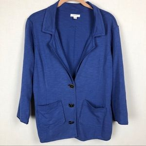 Caslon Blue Casual Raw Edged Button Cardigan M